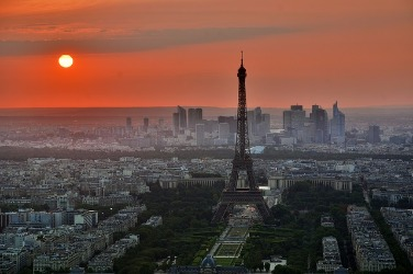 Eiffel Tower with Sunrise