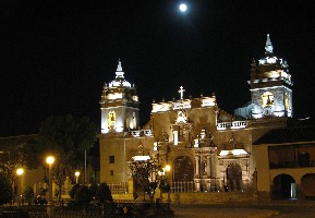 Church in Ayacucho Peru is a stunning sight at night